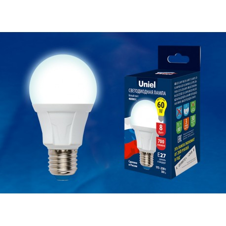 LED-A60 8W/NW/E27/FR PLP01WH Лампа светодиодная.